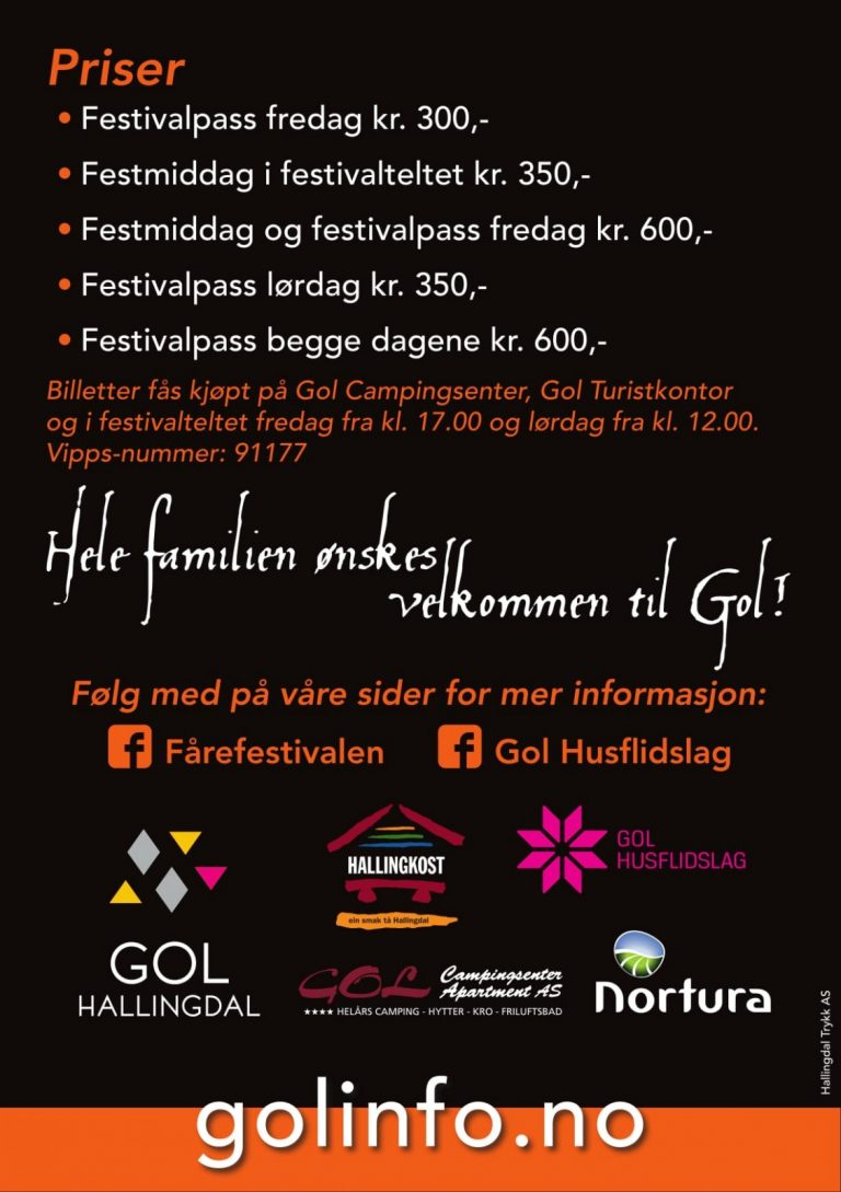 Billettpriser Fårefestivalen